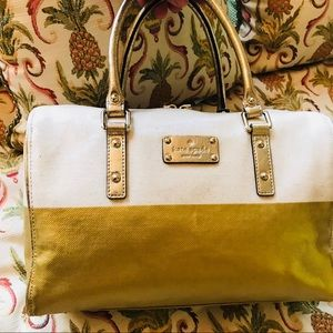 Kate Spade New York Canvas Gold Duffle Bag